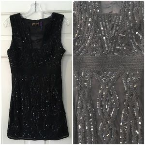 Free People Black Sequin Dress Party Back Cutout 2